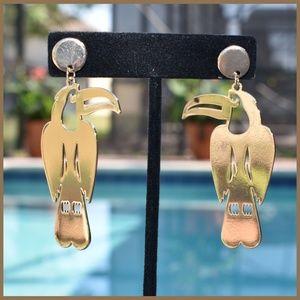 Jewelry - Tropical Bird Gold Earrings